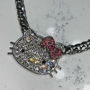 Hello Kitty Bling Crystal Cuban Chain Necklace